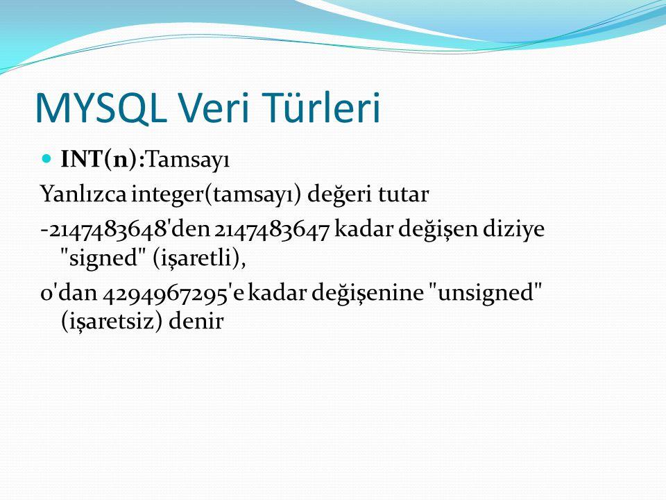 MYSQL Veri Türleri INT(n):Tamsayı