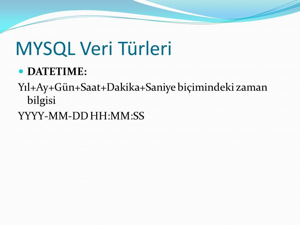 MYSQL Veri Türleri DATETIME:
