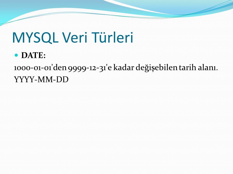 MYSQL Veri Türleri DATE: