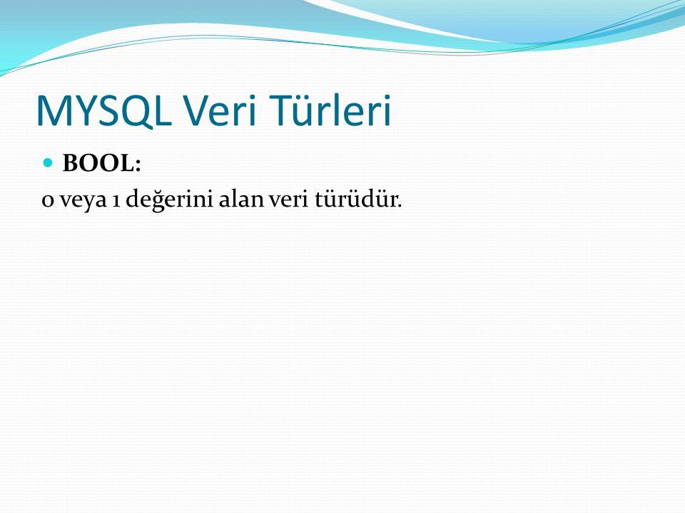 MYSQL Veri Türleri BOOL: 0 veya 1 değerini alan veri türüdür.