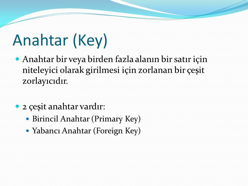 Anahtar (Key) Anahtar bir veya birden fazla alanın bir satır için niteleyici olarak girilmesi için zorlanan bir çeşit zorlayıcıdır.