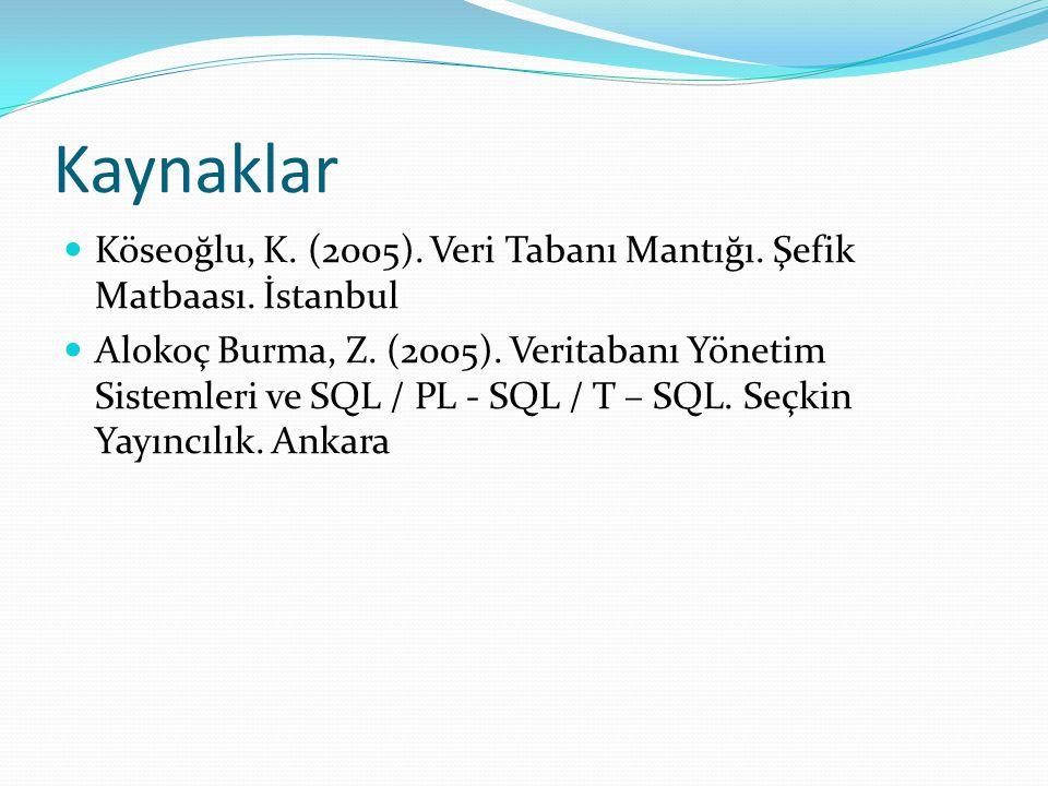 Kaynaklar Köseoğlu, K. (2005). Veri Tabanı Mantığı. Şefik Matbaası. İstanbul.