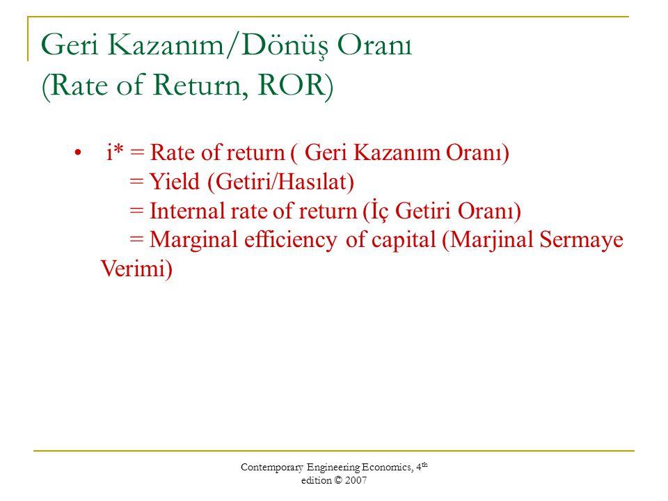 Geri Kazanım/Dönüş Oranı (Rate of Return, ROR)