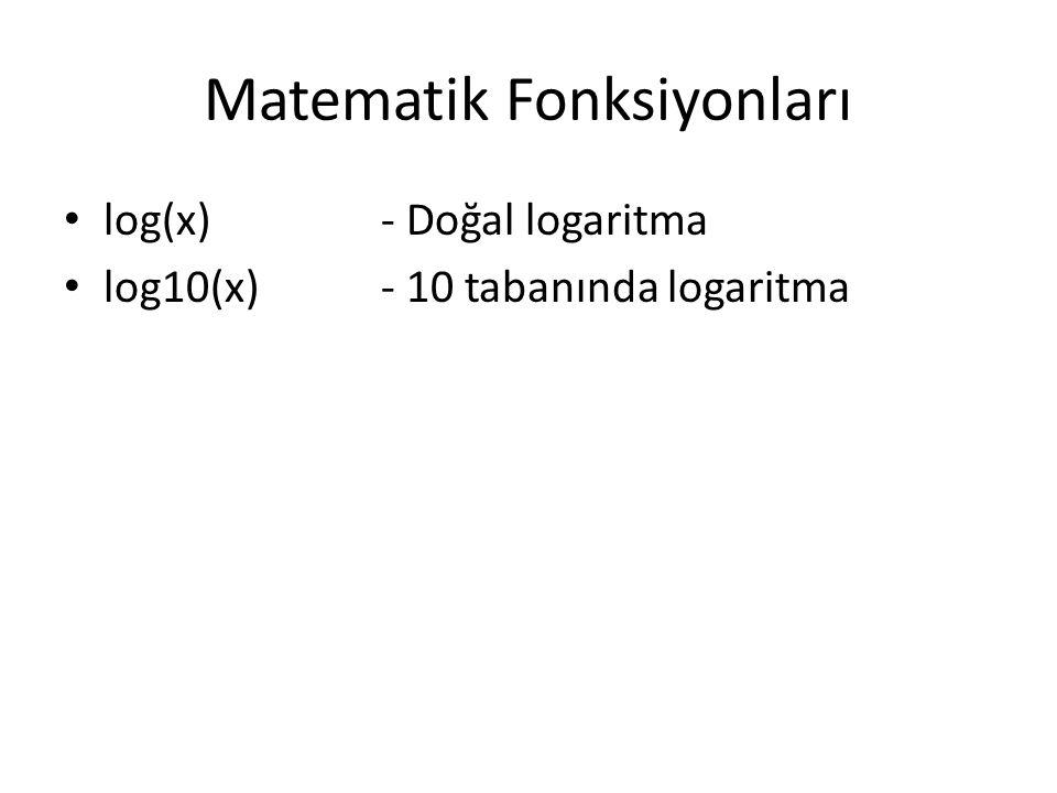 Matematik Fonksiyonları