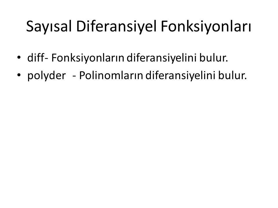 Sayısal Diferansiyel Fonksiyonları