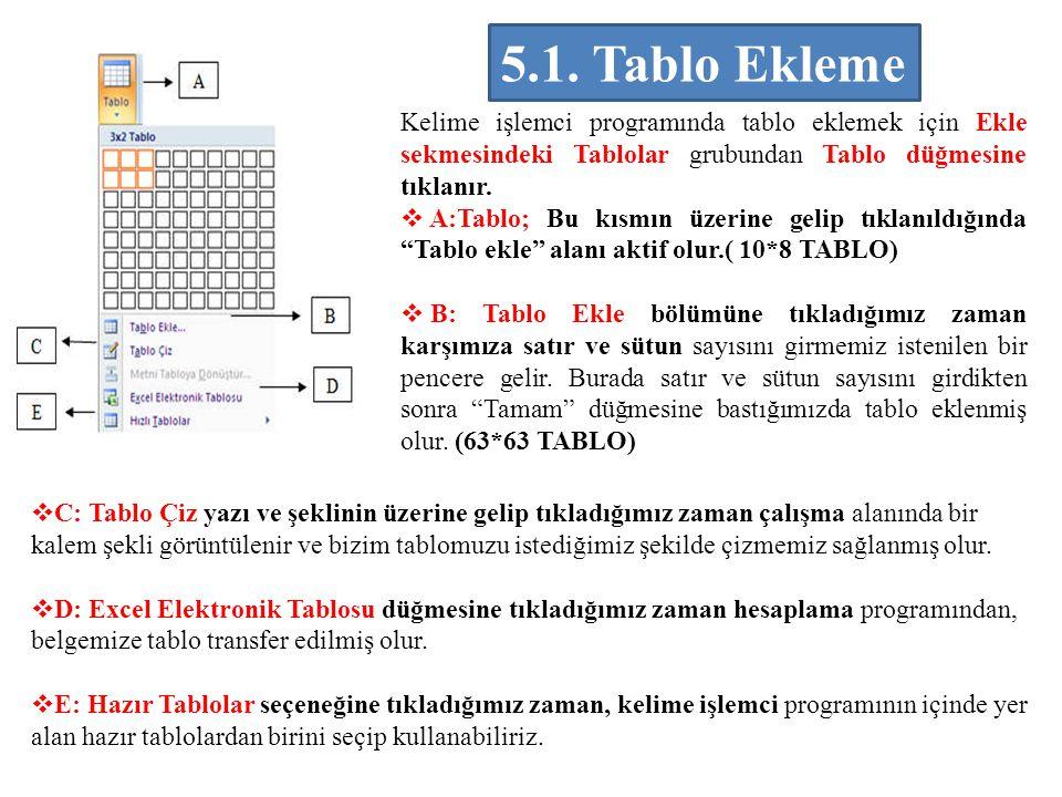 5.1. Tablo Ekleme Kelime işlemci programında tablo eklemek için Ekle sekmesindeki Tablolar grubundan Tablo düğmesine tıklanır.