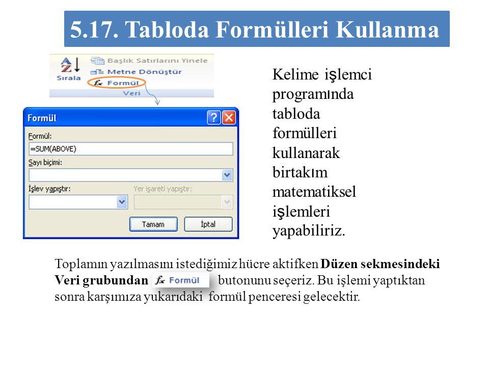 5.17. Tabloda Formülleri Kullanma