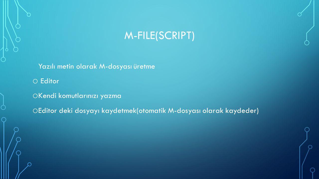 M-file(Script) Yazılı metin olarak M-dosyası üretme Editor