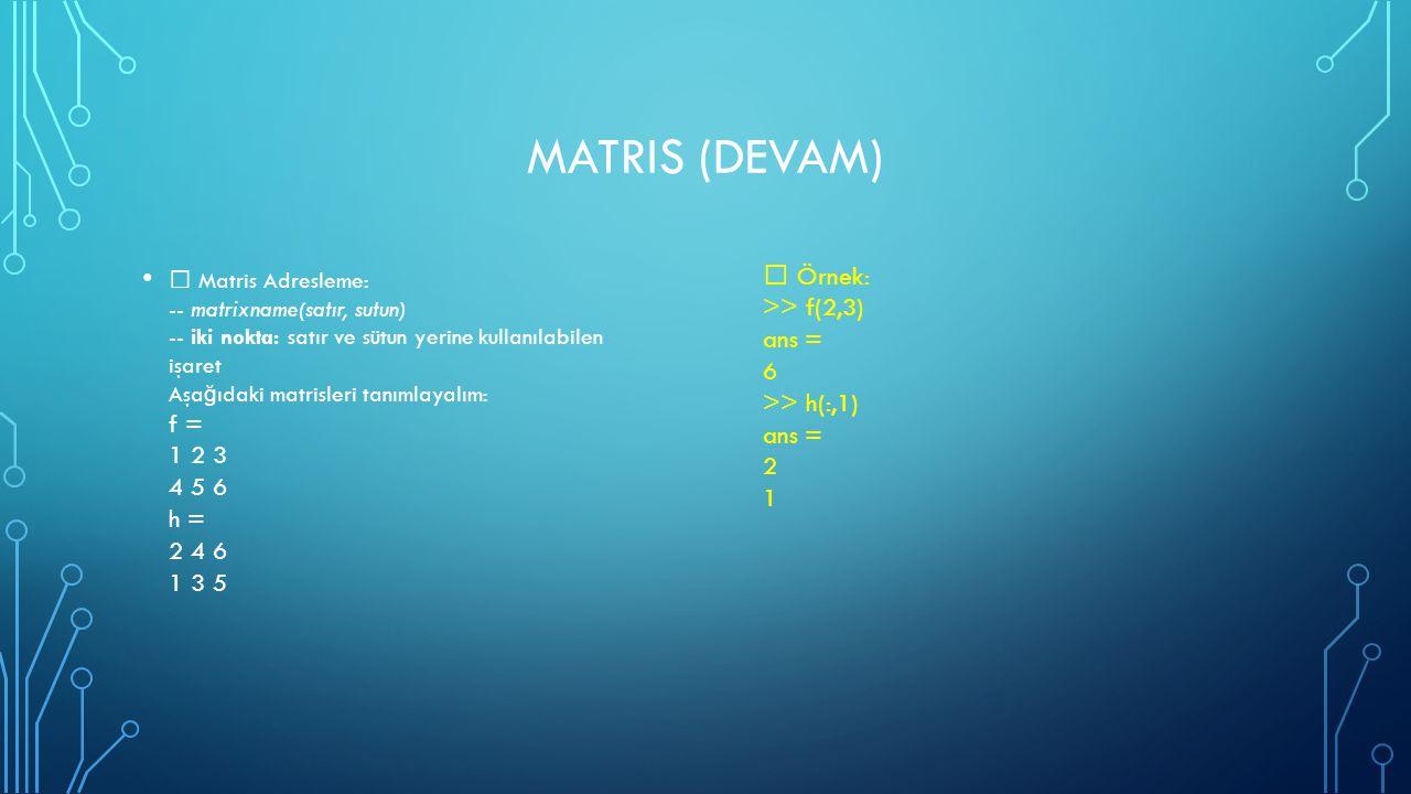 MatriS (DEVAM)  Örnek: >> f(2,3) ans = 6 >> h(:,1) ans = 2. 1.