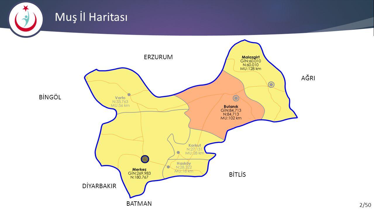 Muş İl Haritası ERZURUM AĞRI BİNGÖL BİTLİS DİYARBAKIR BATMAN