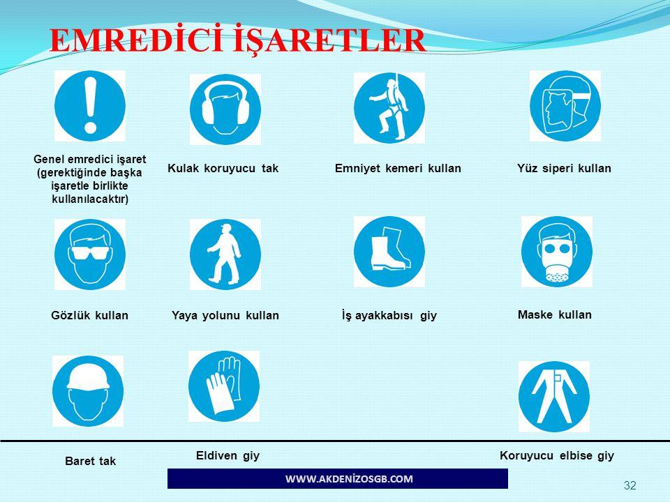 EMREDİCİ İŞARETLER Kulak koruyucu tak Emniyet kemeri kullan