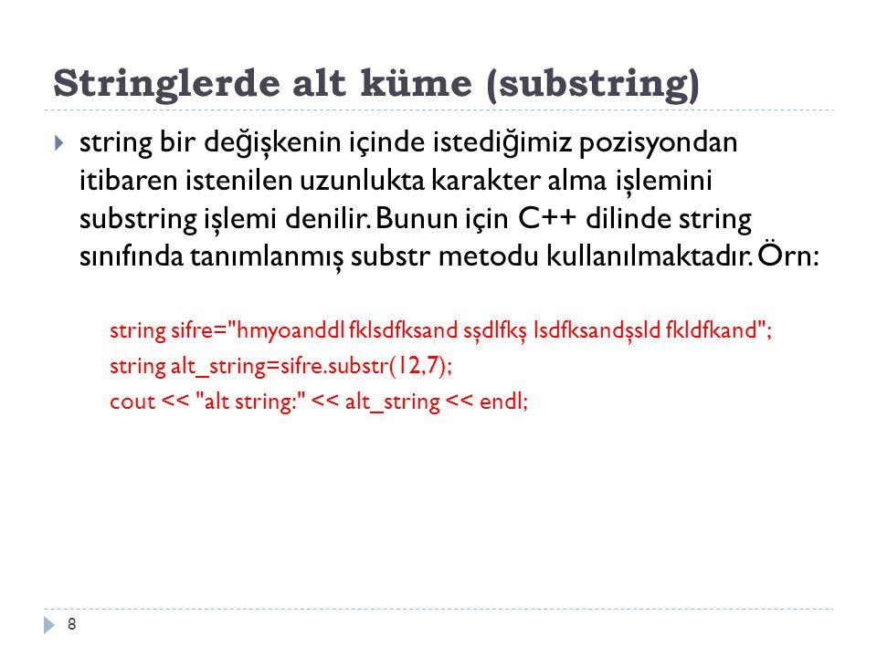 Stringlerde alt küme (substring)