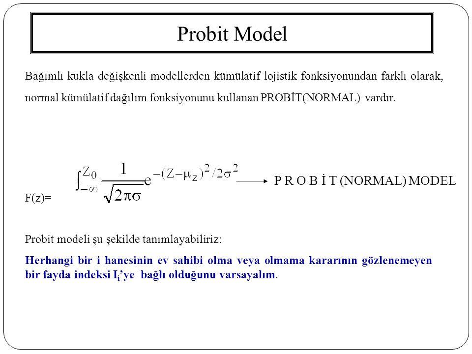 Probit Model P R O B İ T (NORMAL) MODEL