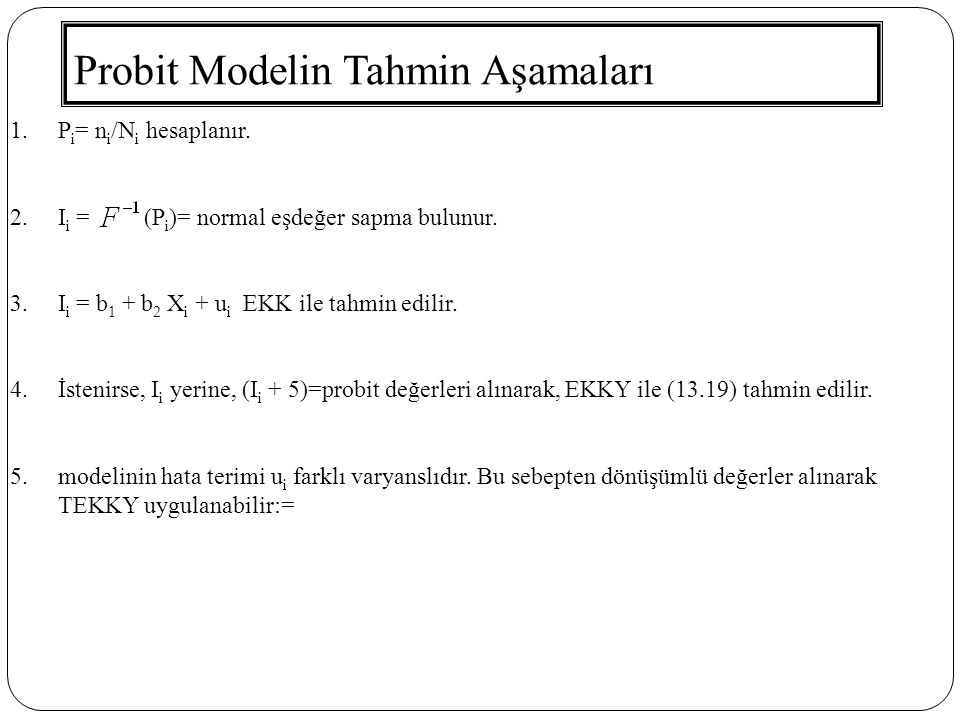 Probit Modelin Tahmin Aşamaları