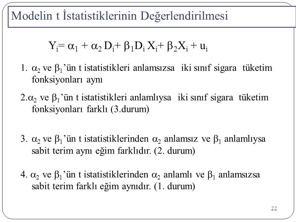 Modelin t İstatistiklerinin Değerlendirilmesi