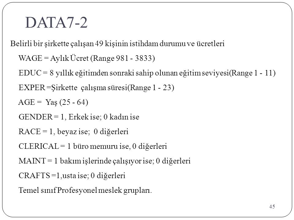 DATA7-2 Belirli bir şirkette çalışan 49 kişinin istihdam durumu ve ücretleri. WAGE = Aylık Ücret (Range 981 - 3833)