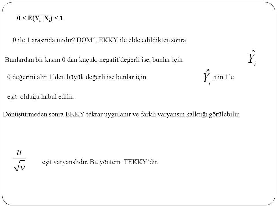 0  E(Yi |Xi)  1 0 ile 1 arasında mıdır DOM , EKKY ile elde edildikten sonra. Bunlardan bir kısmı 0 dan küçük, negatif değerli ise, bunlar için.