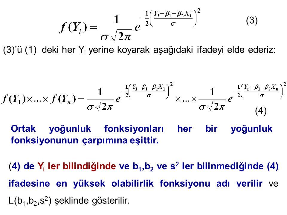 (3) (3)'ü (1) deki her Yi yerine koyarak aşağıdaki ifadeyi elde ederiz: (4)