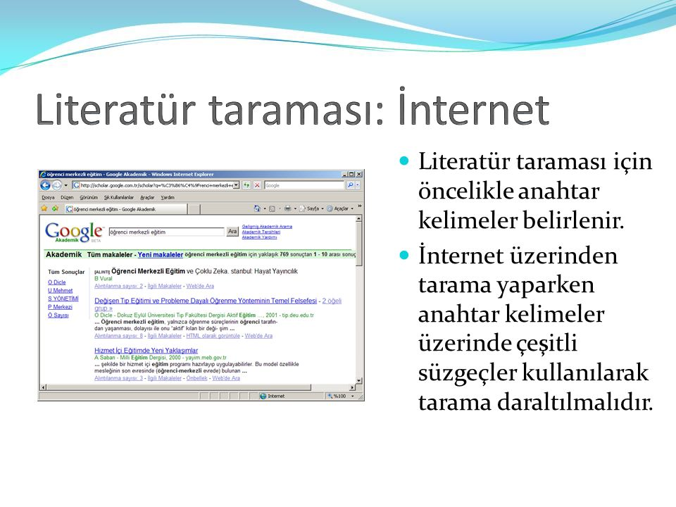 Literatür taraması: İnternet