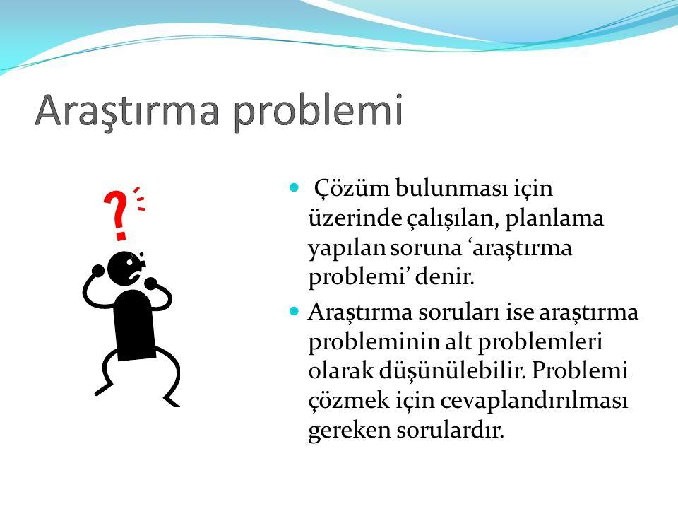 Araştırma problemi Çözüm bulunması için üzerinde çalışılan, planlama yapılan soruna 'araştırma problemi' denir.