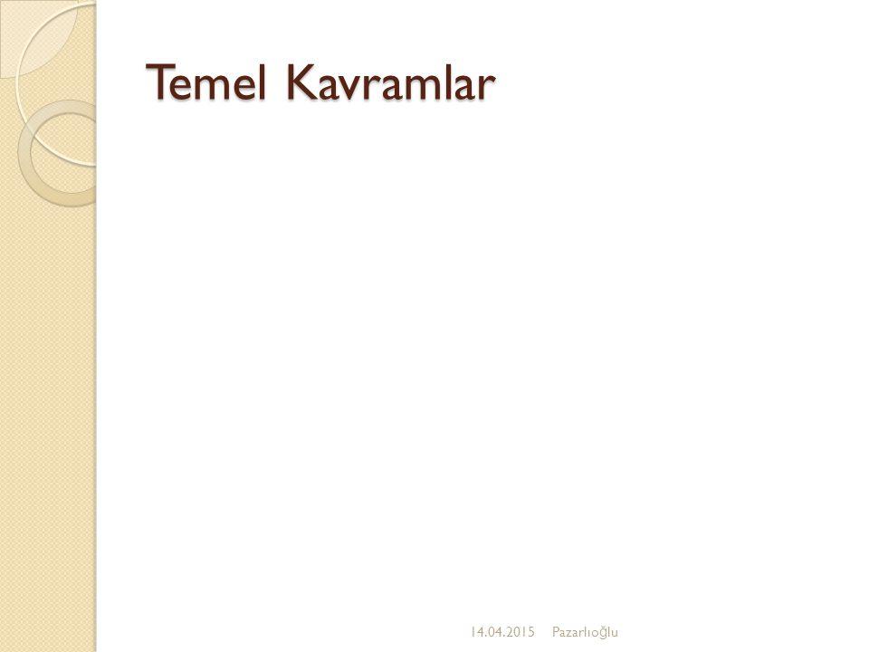 Temel Kavramlar 12.04.2017 Pazarlıoğlu