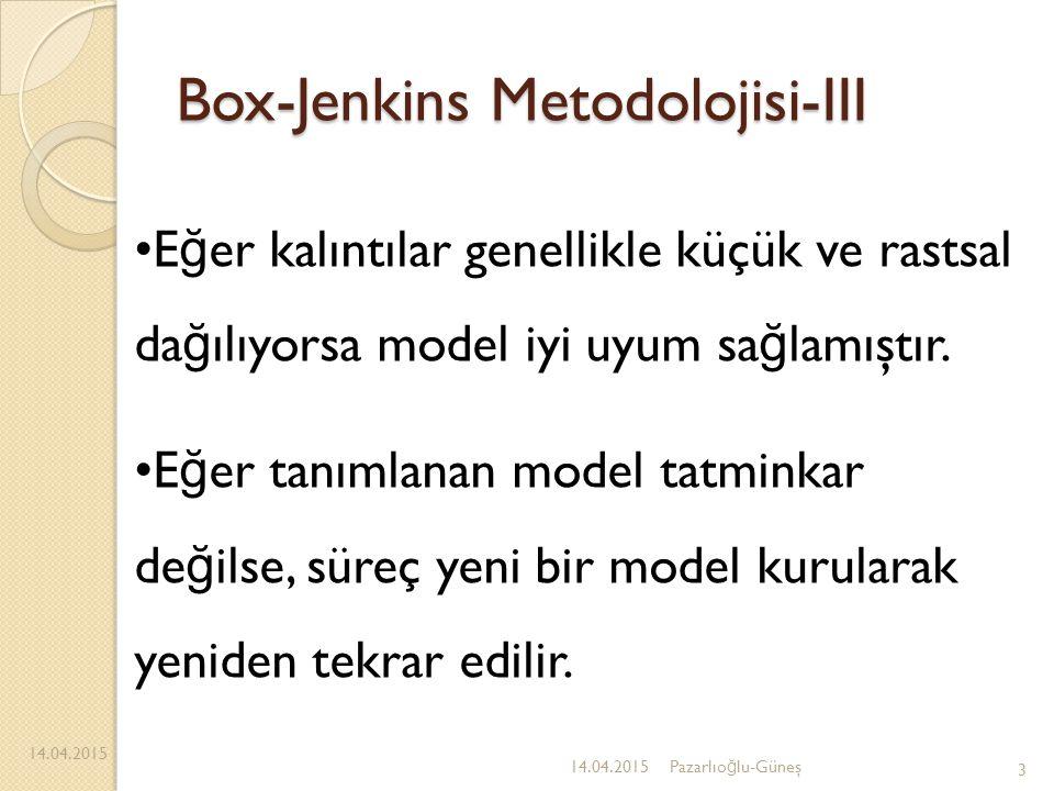 Box-Jenkins Metodolojisi-III