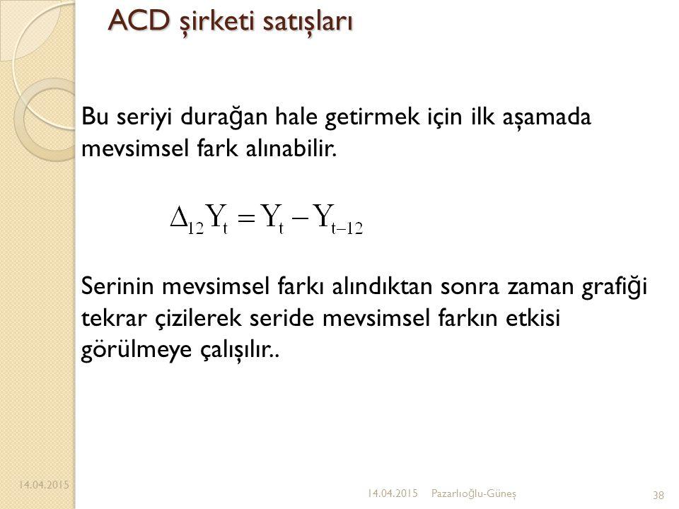 ACD şirketi satışları Bu seriyi durağan hale getirmek için ilk aşamada mevsimsel fark alınabilir.