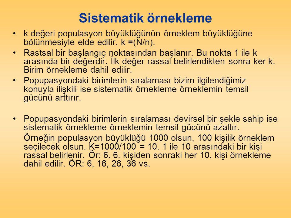 Sistematik örnekleme k değeri populasyon büyüklüğünün örneklem büyüklüğüne bölünmesiyle elde edilir. k =(N/n).