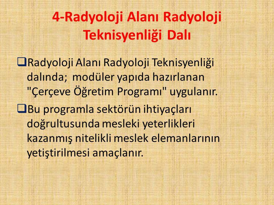 4-Radyoloji Alanı Radyoloji Teknisyenliği Dalı