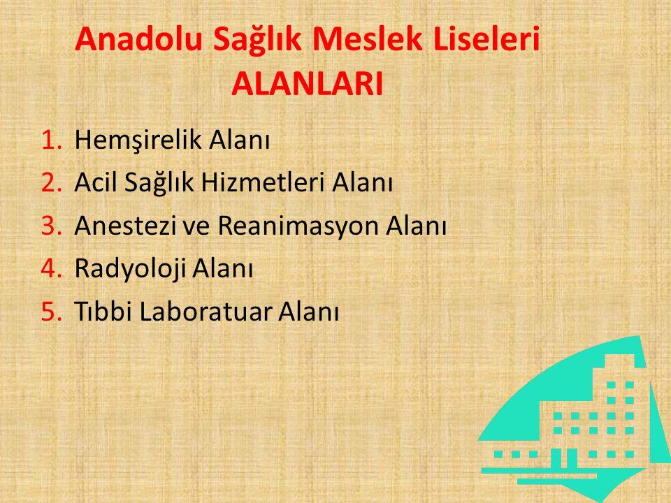 Anadolu Sağlık Meslek Liseleri ALANLARI