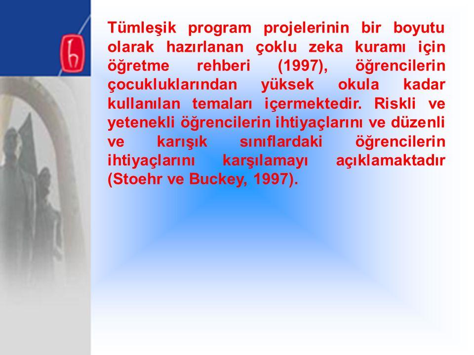 Tümleşik program projelerinin bir boyutu olarak hazırlanan çoklu zeka kuramı için öğretme rehberi (1997), öğrencilerin çocukluklarından yüksek okula kadar kullanılan temaları içermektedir.