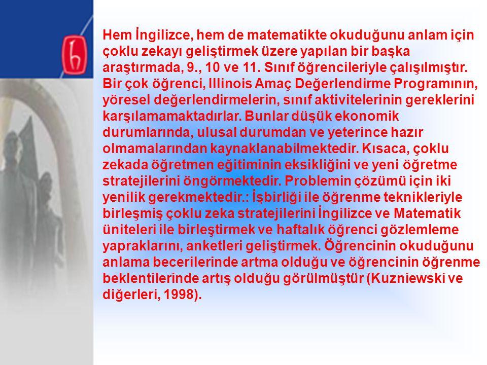Hem İngilizce, hem de matematikte okuduğunu anlam için çoklu zekayı geliştirmek üzere yapılan bir başka araştırmada, 9., 10 ve 11.