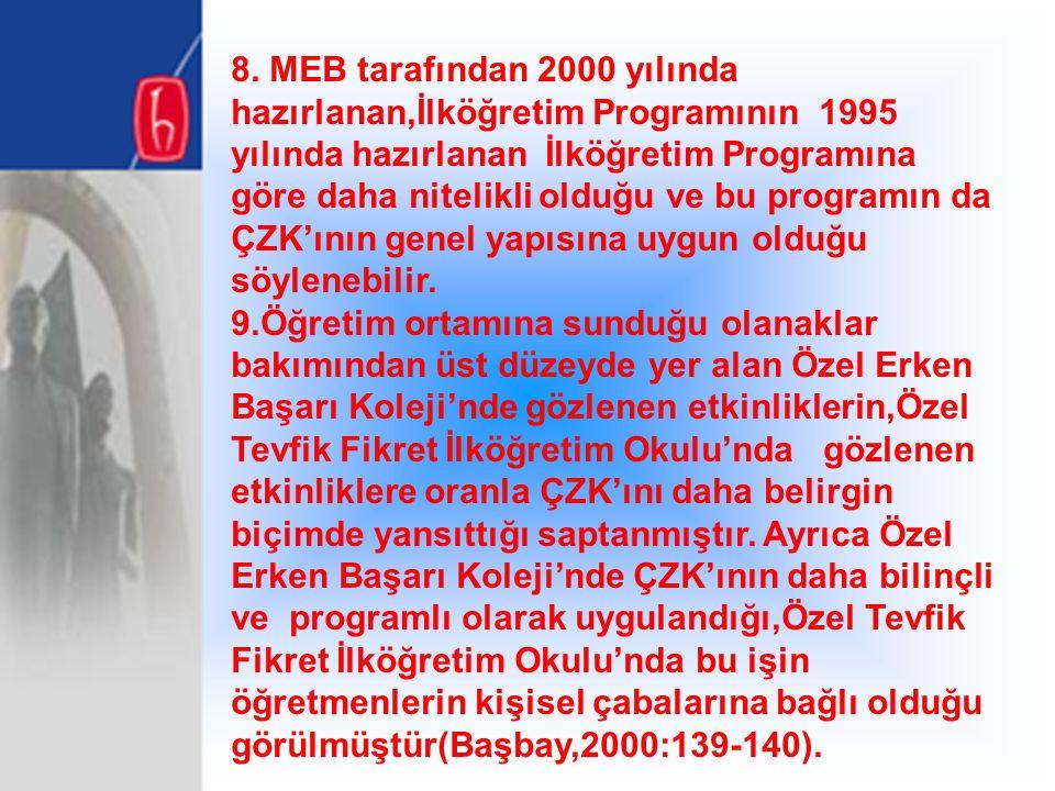 8. MEB tarafından 2000 yılında hazırlanan,İlköğretim Programının 1995 yılında hazırlanan İlköğretim Programına göre daha nitelikli olduğu ve bu programın da ÇZK'ının genel yapısına uygun olduğu söylenebilir.