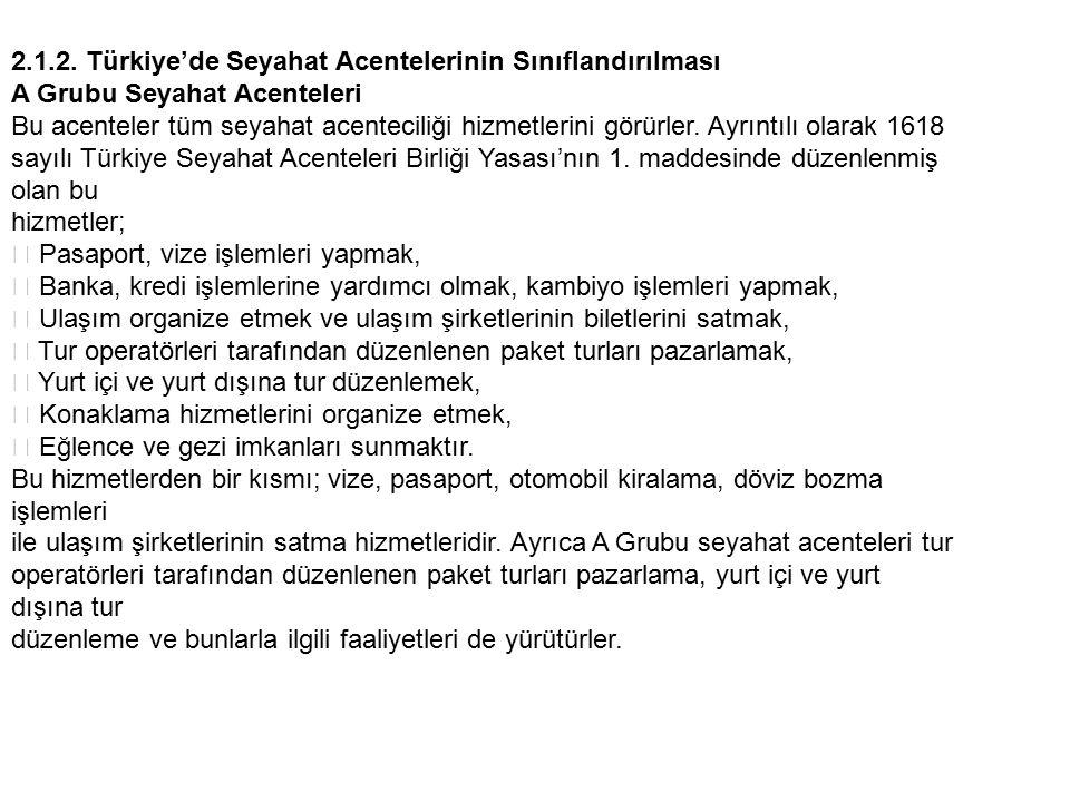 2.1.2. Türkiye'de Seyahat Acentelerinin Sınıflandırılması