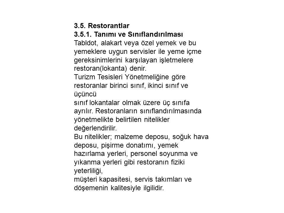 3.5. Restorantlar 3.5.1. Tanımı ve Sınıflandırılması. Tabldot, alakart veya özel yemek ve bu yemeklere uygun servisler ile yeme içme.