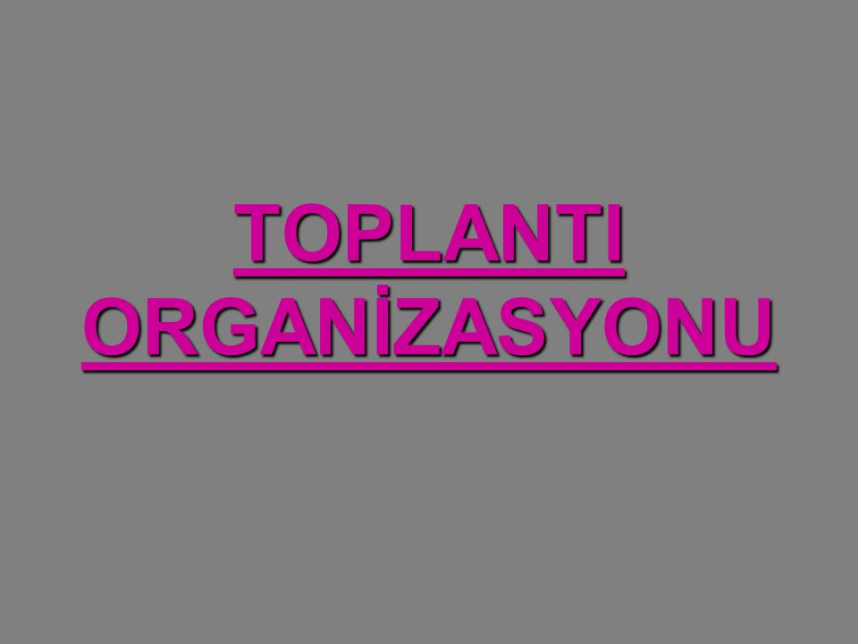 TOPLANTI ORGANİZASYONU