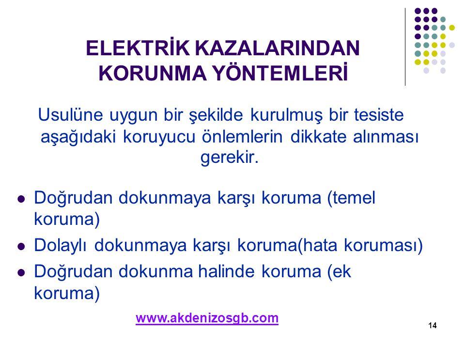 ELEKTRİK KAZALARINDAN KORUNMA YÖNTEMLERİ