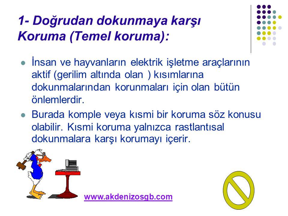 1- Doğrudan dokunmaya karşı Koruma (Temel koruma):