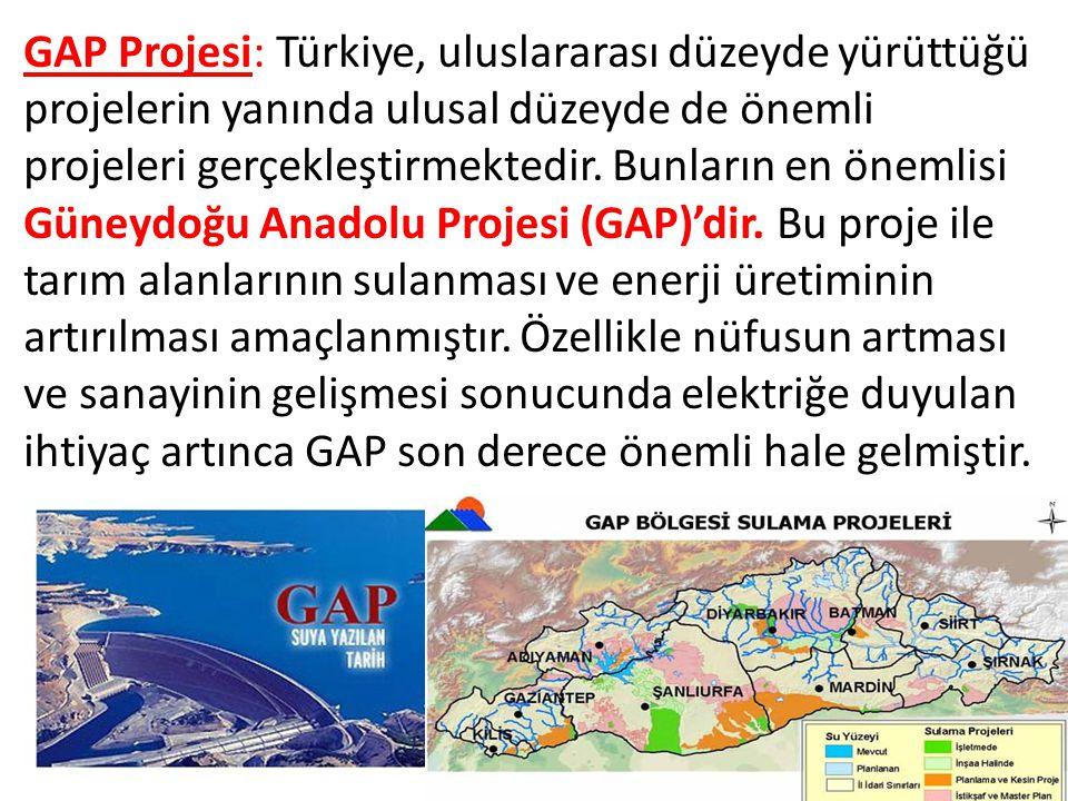 GAP Projesi: Türkiye, uluslararası düzeyde yürüttüğü projelerin yanında ulusal düzeyde de önemli projeleri gerçekleştirmektedir.