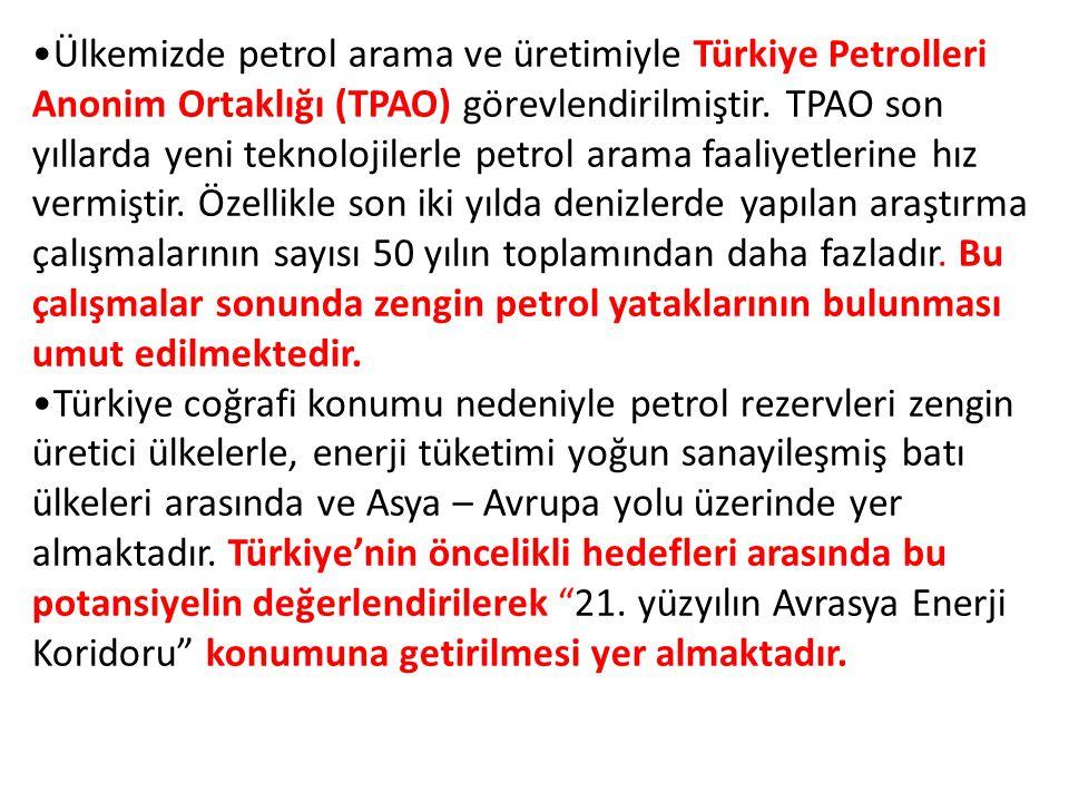 Ülkemizde petrol arama ve üretimiyle Türkiye Petrolleri Anonim Ortaklığı (TPAO) görevlendirilmiştir. TPAO son yıllarda yeni teknolojilerle petrol arama faaliyetlerine hız vermiştir. Özellikle son iki yılda denizlerde yapılan araştırma çalışmalarının sayısı 50 yılın toplamından daha fazladır. Bu çalışmalar sonunda zengin petrol yataklarının bulunması umut edilmektedir.