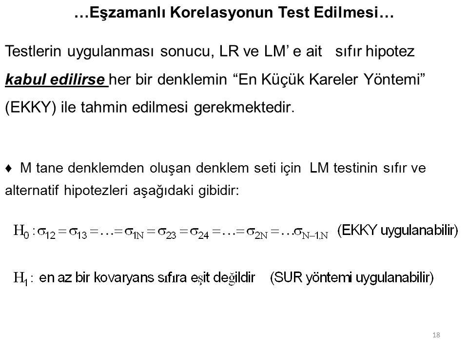 …Eşzamanlı Korelasyonun Test Edilmesi…