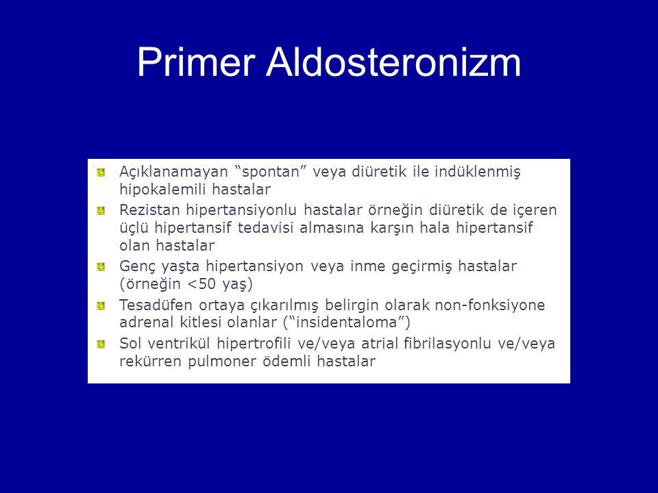 Primer Aldosteronizm Açıklanamayan spontan veya diüretik ile indüklenmiş hipokalemili hastalar.