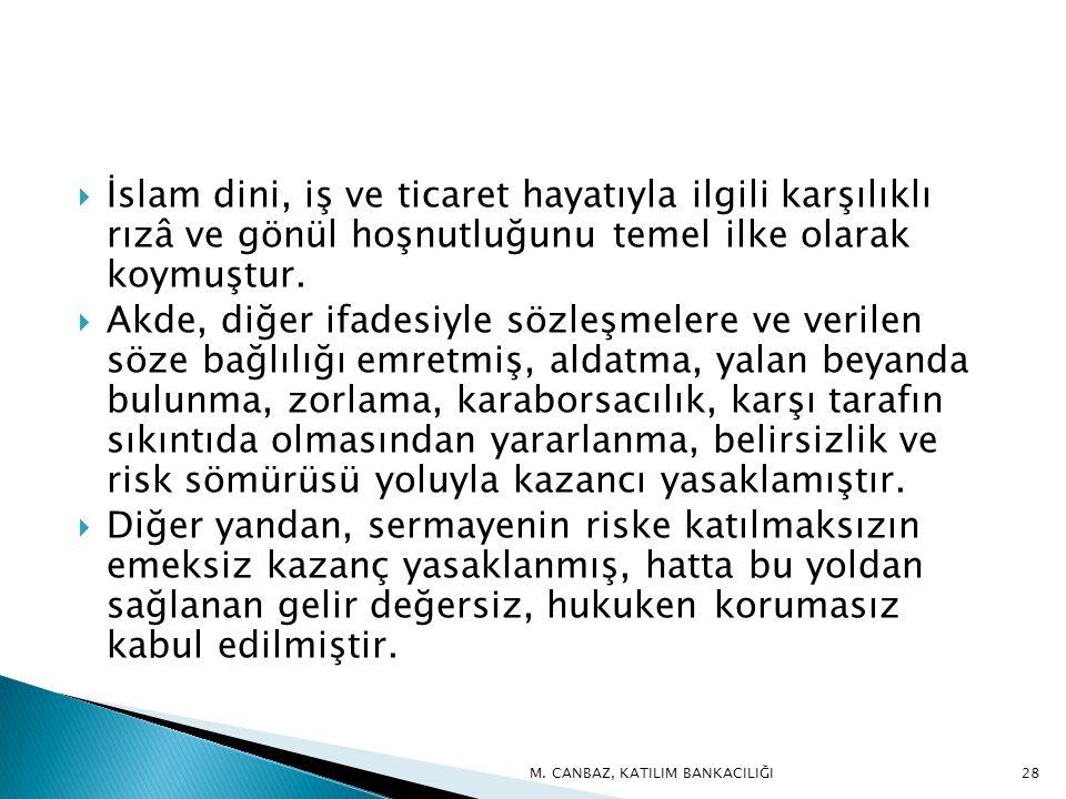 İslam dini, iş ve ticaret hayatıyla ilgili karşılıklı rızâ ve gönül hoşnutluğunu temel ilke olarak koymuştur.