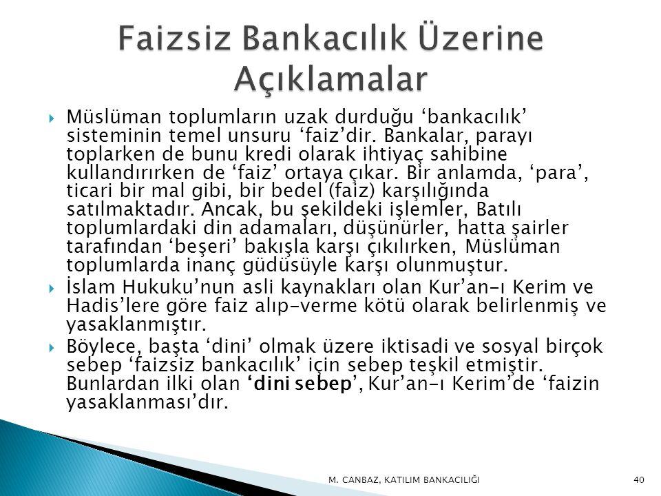 Faizsiz Bankacılık Üzerine Açıklamalar
