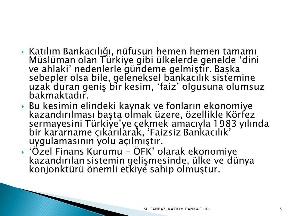 Katılım Bankacılığı, nüfusun hemen hemen tamamı Müslüman olan Türkiye gibi ülkelerde genelde 'dini ve ahlaki' nedenlerle gündeme gelmiştir. Başka sebepler olsa bile, geleneksel bankacılık sistemine uzak duran geniş bir kesim, 'faiz' olgusuna olumsuz bakmaktadır.