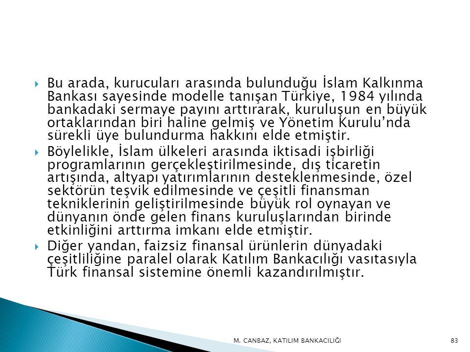 Bu arada, kurucuları arasında bulunduğu İslam Kalkınma Bankası sayesinde modelle tanışan Türkiye, 1984 yılında bankadaki sermaye payını arttırarak, kuruluşun en büyük ortaklarından biri haline gelmiş ve Yönetim Kurulu'nda sürekli üye bulundurma hakkını elde etmiştir.