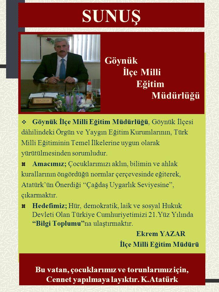 SUNUŞ Göynük İlçe Milli Eğitim Müdürlüğü