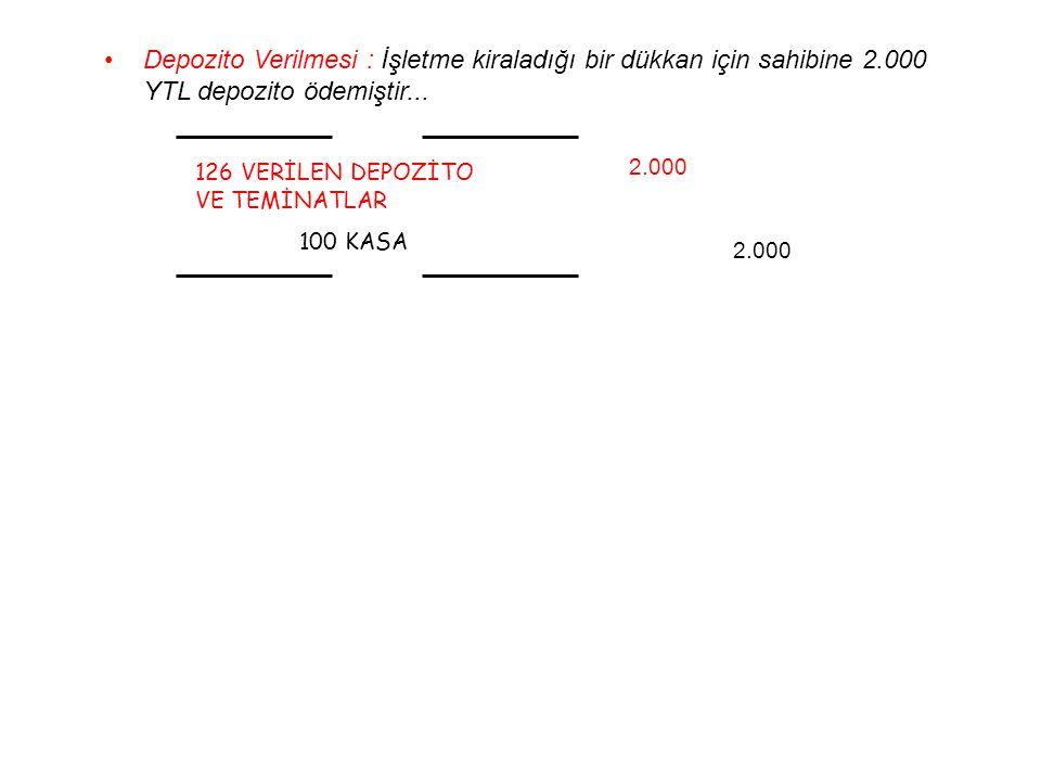 Depozito Verilmesi : İşletme kiraladığı bir dükkan için sahibine 2