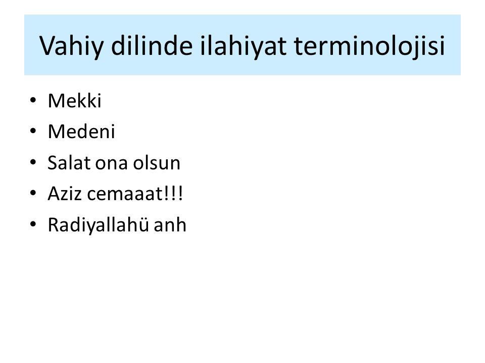 Vahiy dilinde ilahiyat terminolojisi