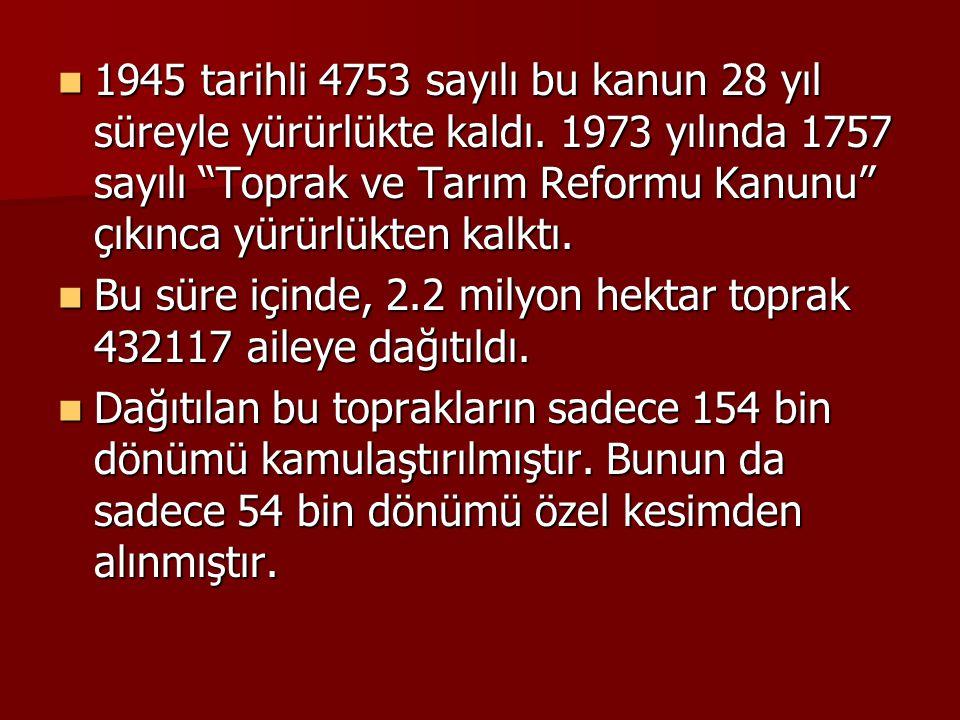 1945 tarihli 4753 sayılı bu kanun 28 yıl süreyle yürürlükte kaldı